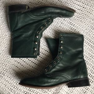 Vintage Laredo Size 9 Green Western Lace Up Boots
